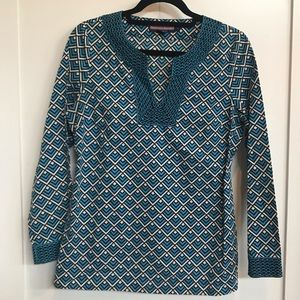 Vineyard Vines Blue Embroidered Tunic Top Small